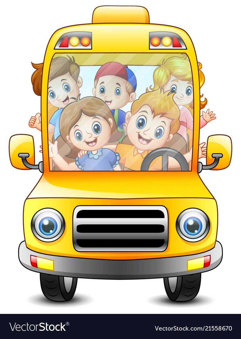 Happy Kids Riding With A Bus Vector Image On Atividades Do Bebe