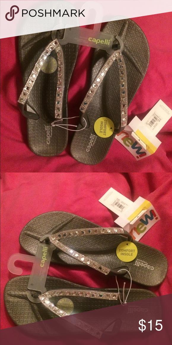 2c9c2ea5854e NWT black bling jelly sandal Dark gray blend Capelli of New York jellied  flip-flop