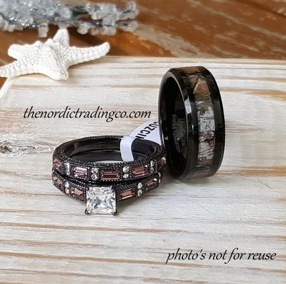 Camouflage Wedding Ring Set Mens Band 714 Brides Engagement Ring