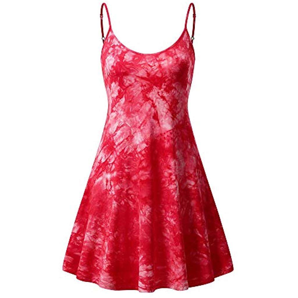 MSBASIC Ärmelloses verstellbares Riemchensommer Strand Swing Kleid für Damen #…