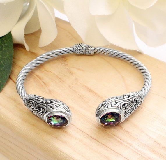 SALE! Sterling Silver .925 Cable Oval Mystic Rainbow Quartz Cuff Bracelet