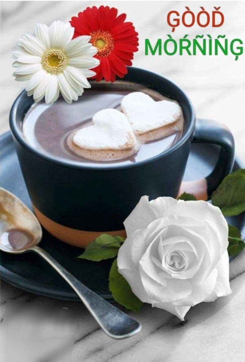 Good Morning Flowers Coffee Images Quotes Good Morning Coffee Morning Coffee Coffee Heart