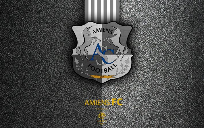 Lataa kuva Amiens FC, 4k, Ranskan football club, Ligue 1, nahka rakenne, logo, tunnus, Amiens, Ranska, jalkapallo
