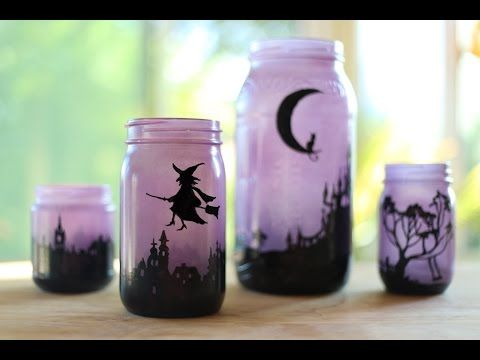 DIY crafts (Halloween decorations) CANDLE JARS, Lanterns- Innova - how to make halloween decorations youtube