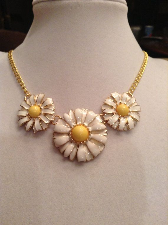 Gold Chain w/White Daisies Necklace by ErinMichellesJewelry