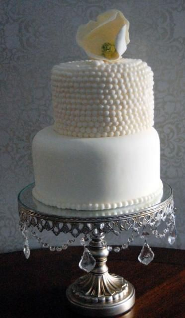 2 Tier White Round Wedding Cake With Pearl Beaded Second And Shell TopperJPG