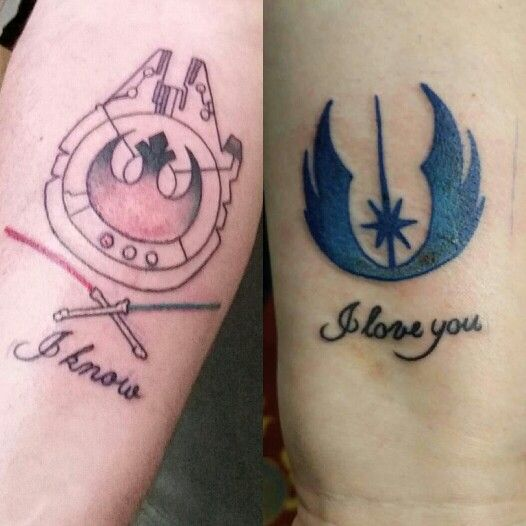 Valentine 39 s day couples tattoos for my love and me star for Matching star wars tattoos