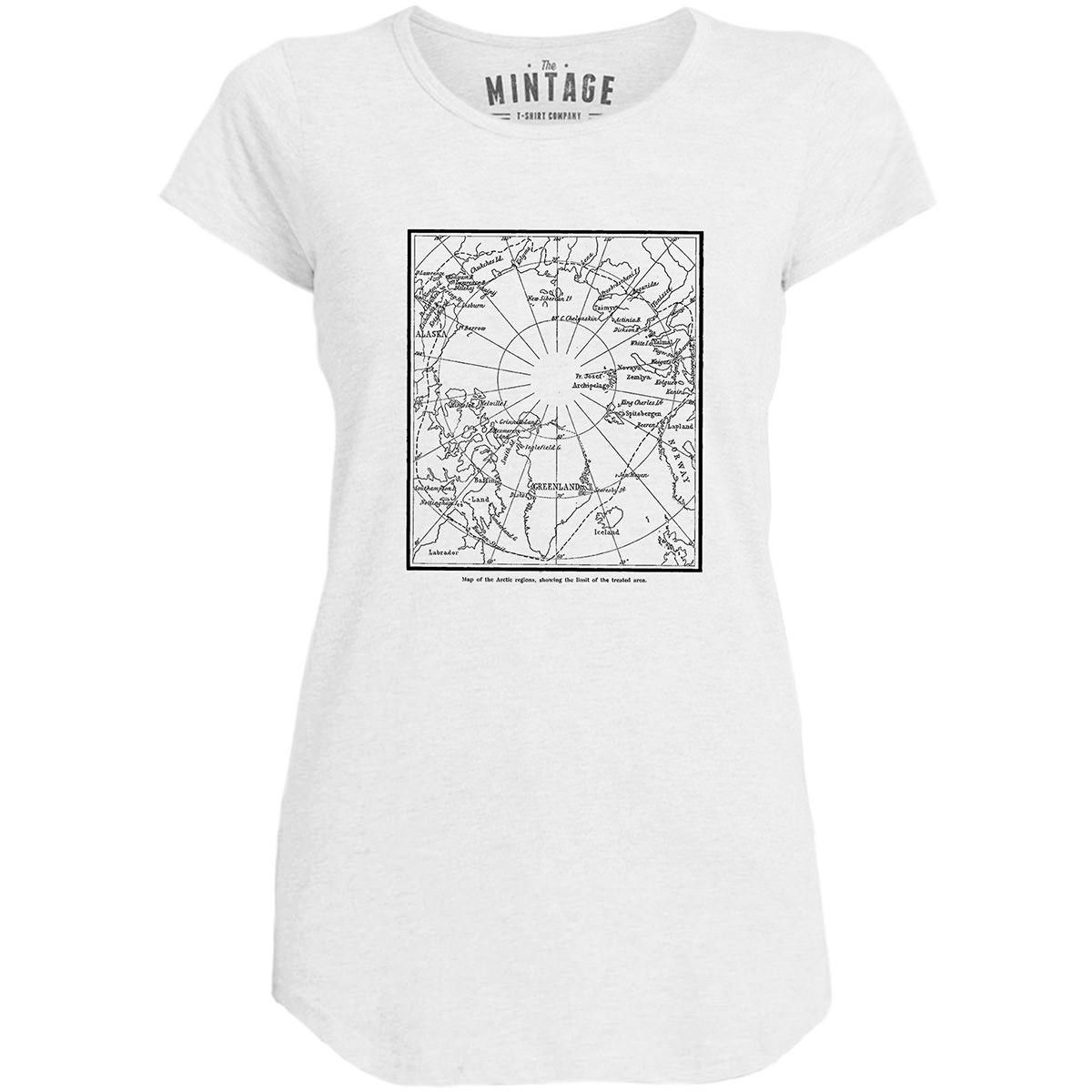 Mintage Greenland Expedition Map Womens Capped Sleeve T-Shirt