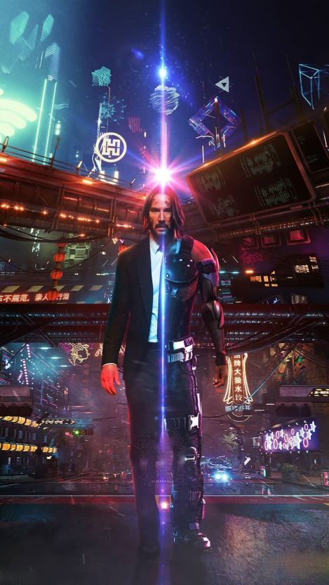 Cyberpunk 2077 Keanu Reeves John Wick Iphone Wallpaper Keanu Reeves John Wick Cyberpunk 2077 Keanu Reeves