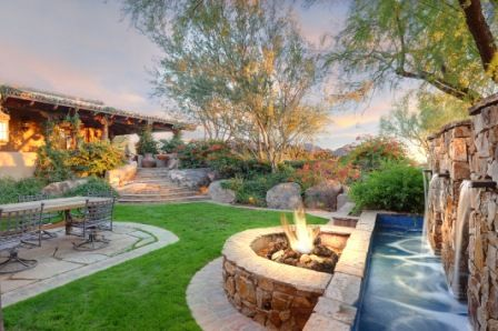 I Love The Waterfall And Fire Pit In This Backyard Oro Valley