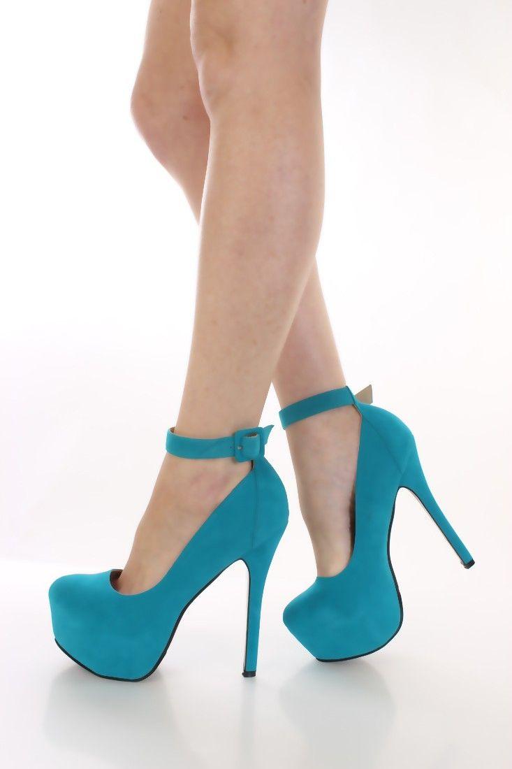 Turquoise Faux Suede Platform Heels Heel Shoes online store sales ...