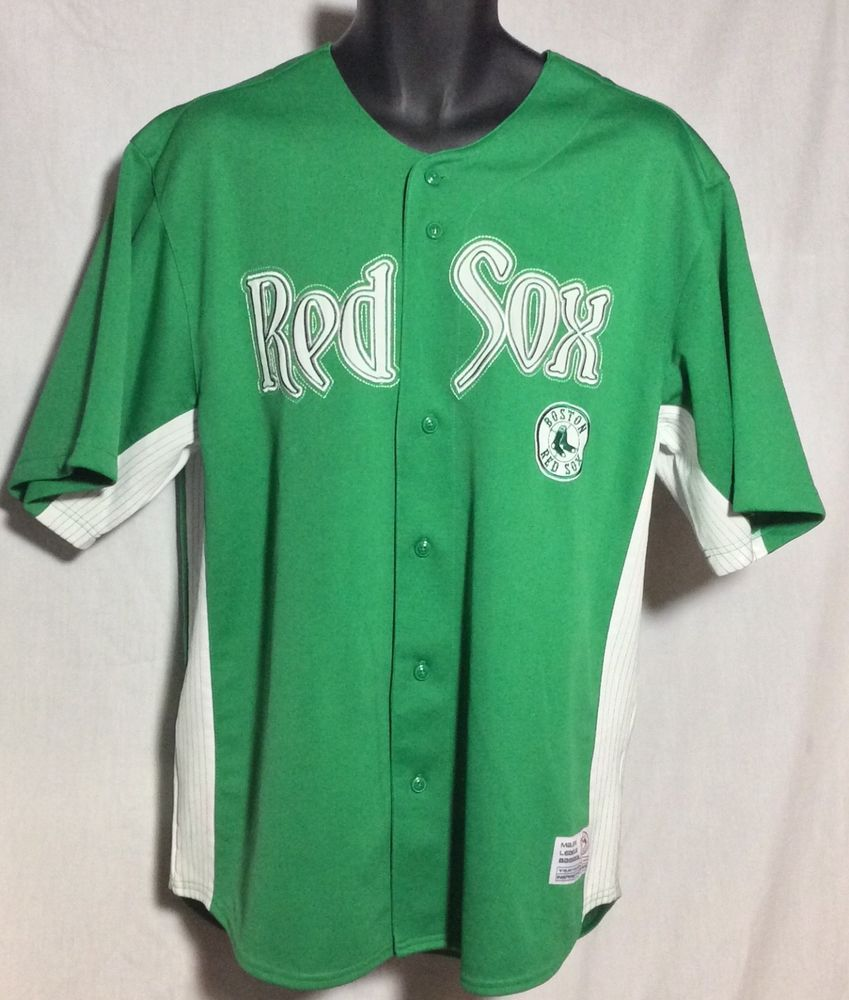 save off 80040 39ef7 Men's Boston Red Sox Stitched Logo Green Baseball Jersey XL ...