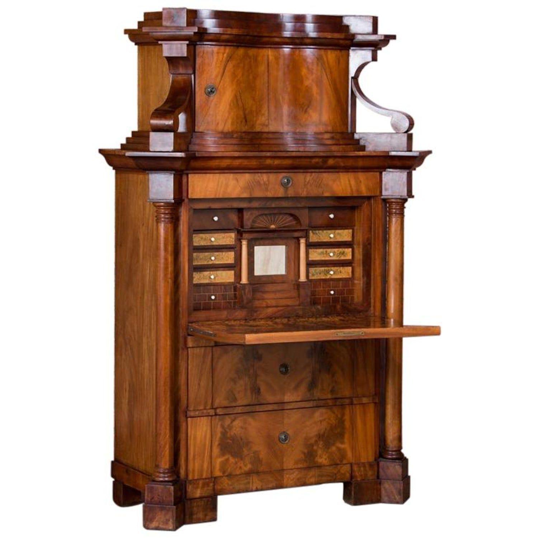 Antique German Mahogany Biedermeier Secretary Desk Secretary