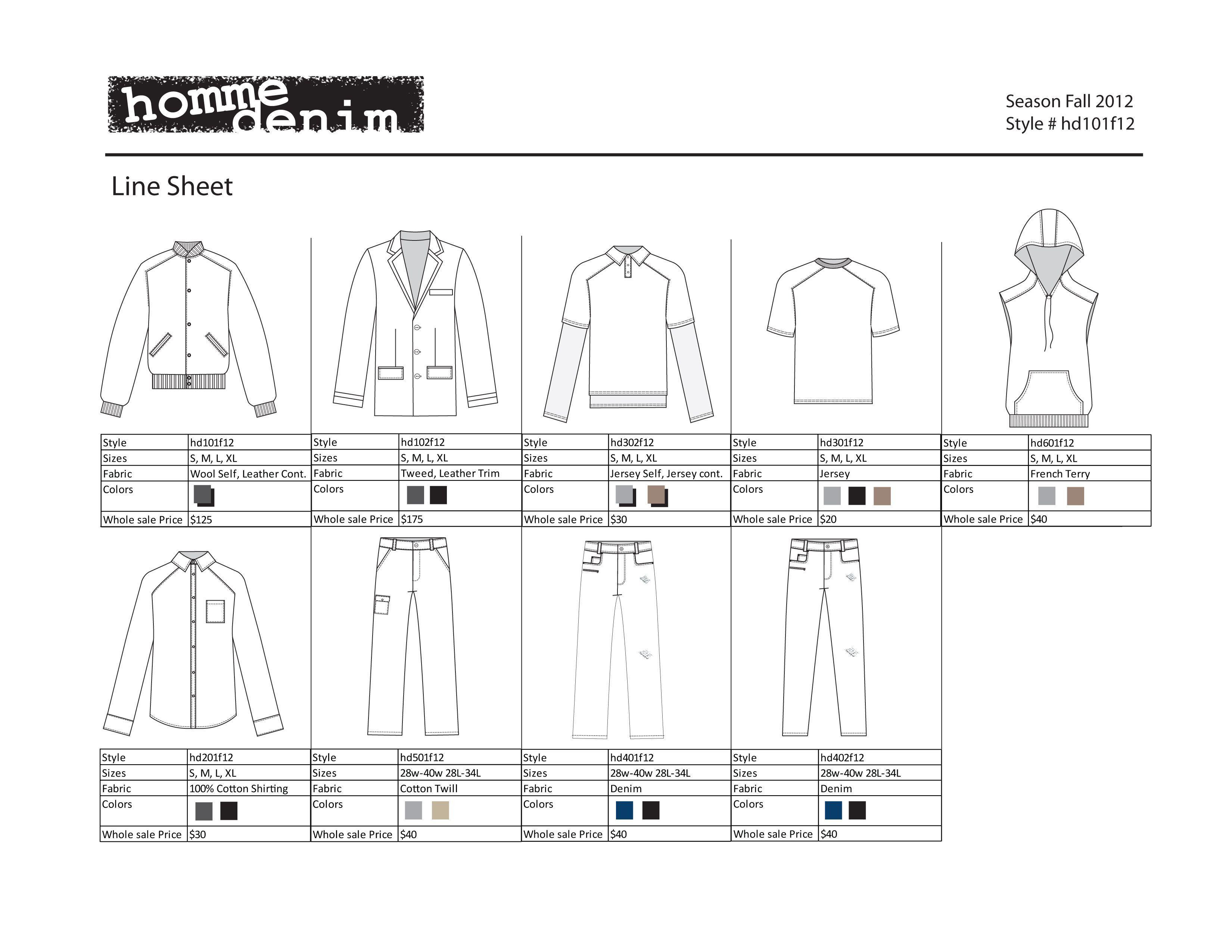 Line Sheet for Men's Wear Line Line sheet for men's wear line. The ...