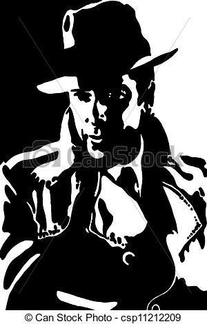 Black N White Clip Art Gangster