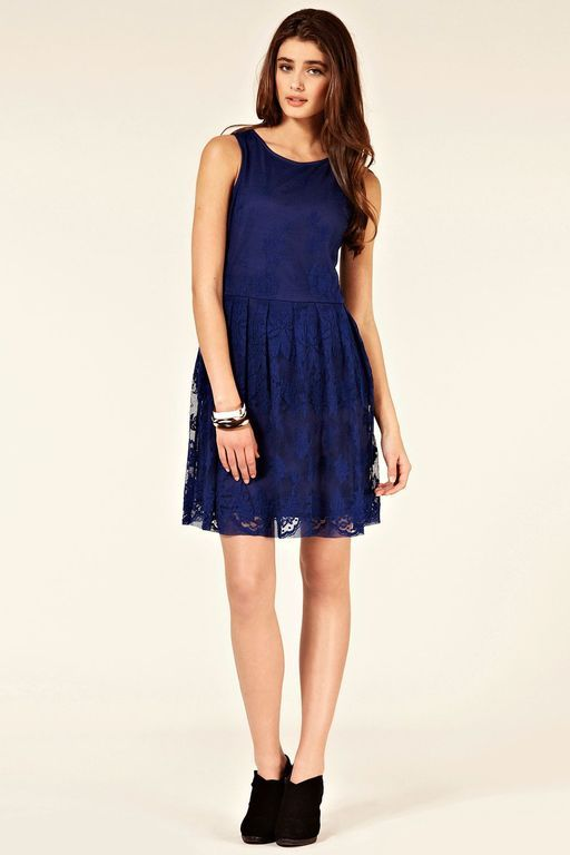 6f50a7e8caf3 Oasis Lace Cutaway Dress in Blue (dark blue) | My Style Pinboard ...