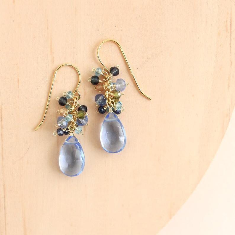 Blue Quartz Dangle Earrings Gift For Women Gemstone Dangle Etsy Blue Quartz Earrings Small Gemstone Earrings Earring Gifts