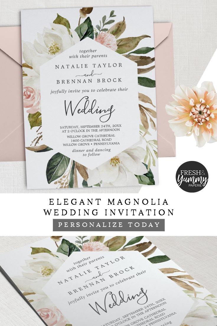 Elegant Magnolia White And Blush Wedding Invitation Zazzle Com In 2020 Magnolia Wedding Invitations Magnolia Wedding Blush Wedding Invitations