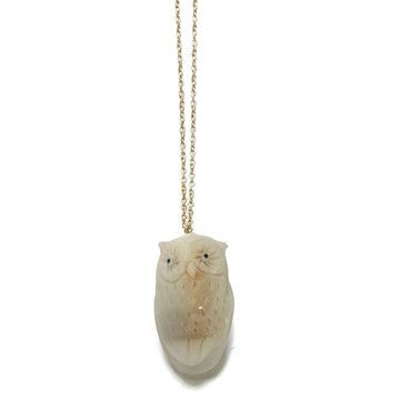 white owl necklace on gold chain, owl made from Tagua nuts?My design inspiration: Tagua Pendant on Fab.