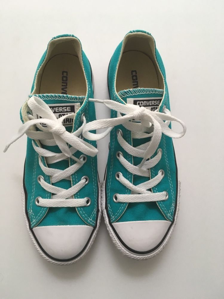 2b5b1be8a542 CONVERSE ALL STAR GIRLS AQUA CANVAS LOW TOP SNEAKERS - SIZE 1 Youth   fashion  clothing  shoes  accessories  kidsclothingshoesaccs  girlsshoes  (ebay link)
