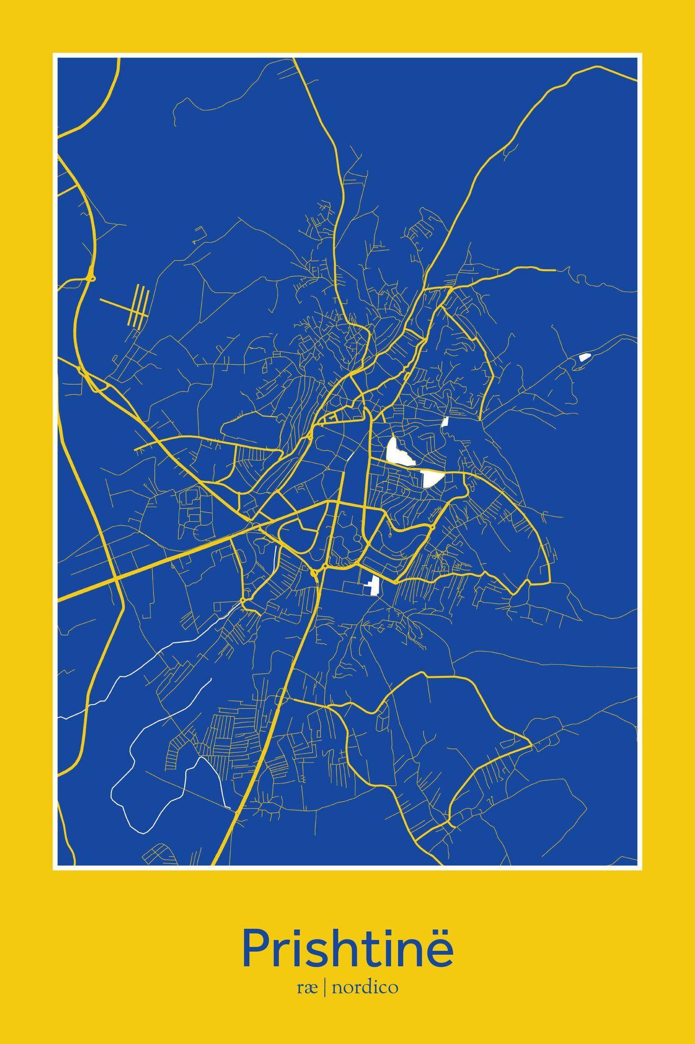 Pristina Kosovo Map Print Mapillust Pinterest - pristina map