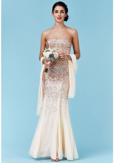 16d63120 Champagne Sequin Chiffon Maxi Wedding Bridesmaid Eve Prom Party Dress Size  10