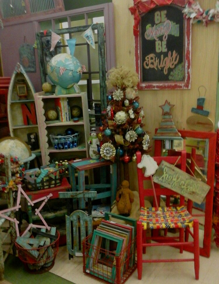 Funky junk by tina booth at xmas, the Village Antiques and Home Decor, Johnson City TN