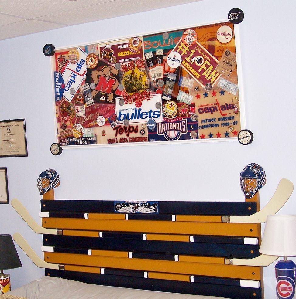 Headboard for sports fan. Diy headboards, Hand painted