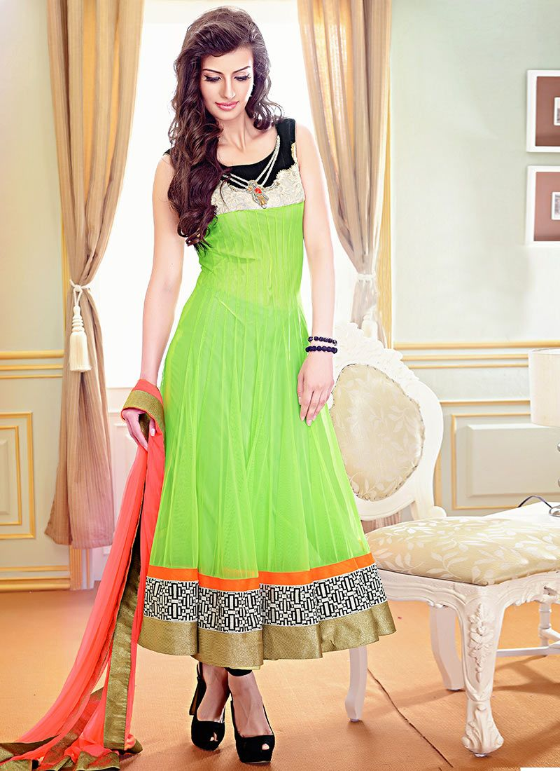 Neon Trendss Designer Readymade Suits Net Parrot Green Readymade ...
