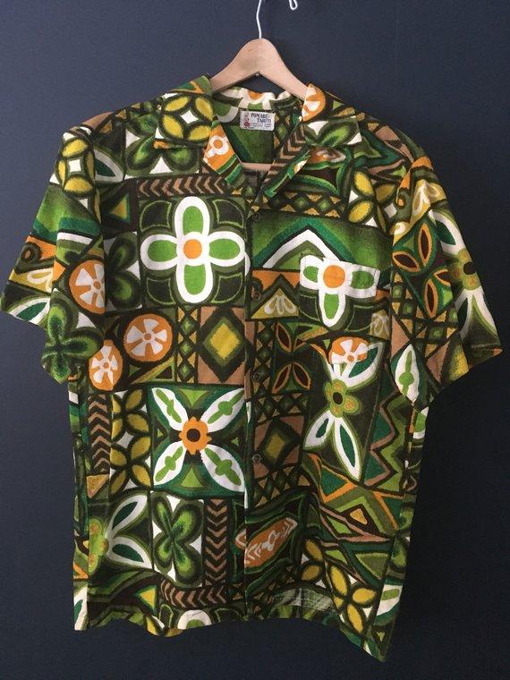 92b2eb2f vintage hawaiian shirt, pomare tahiti, surfer shirt, 70s shirt, 60s shirt,  mens vintage, hawaii shir