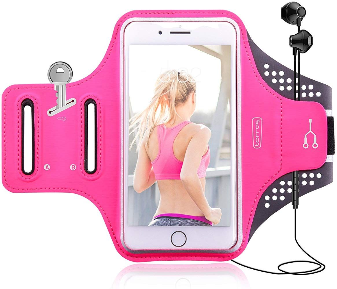 Cell Phone Armband Torras Adjustable Sport/Running/Exercise Workout Arm Band with Screen Touch & Key Holder for iPhone X/ 8/ 7Plus/ 6Plus-Hiking Biking Walking -Rose Red #watches #jewelry #fashions #trends #moda #women #men #armband #armbandworkouts