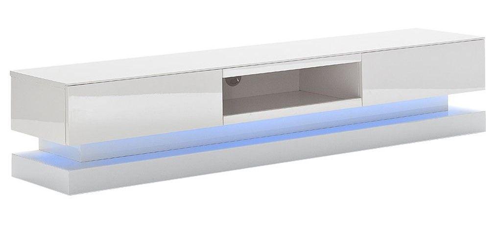 Meuble Tv Design Blanc Laqué Neo Avec éclairage Led Intégré