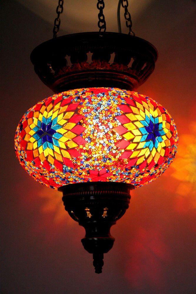 EXTRA LARGE TURKISH MOROCCAN MOSAIC HANGING LAMP SHADE ...