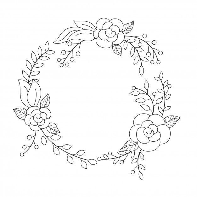 Floral Wreath In Round Frame