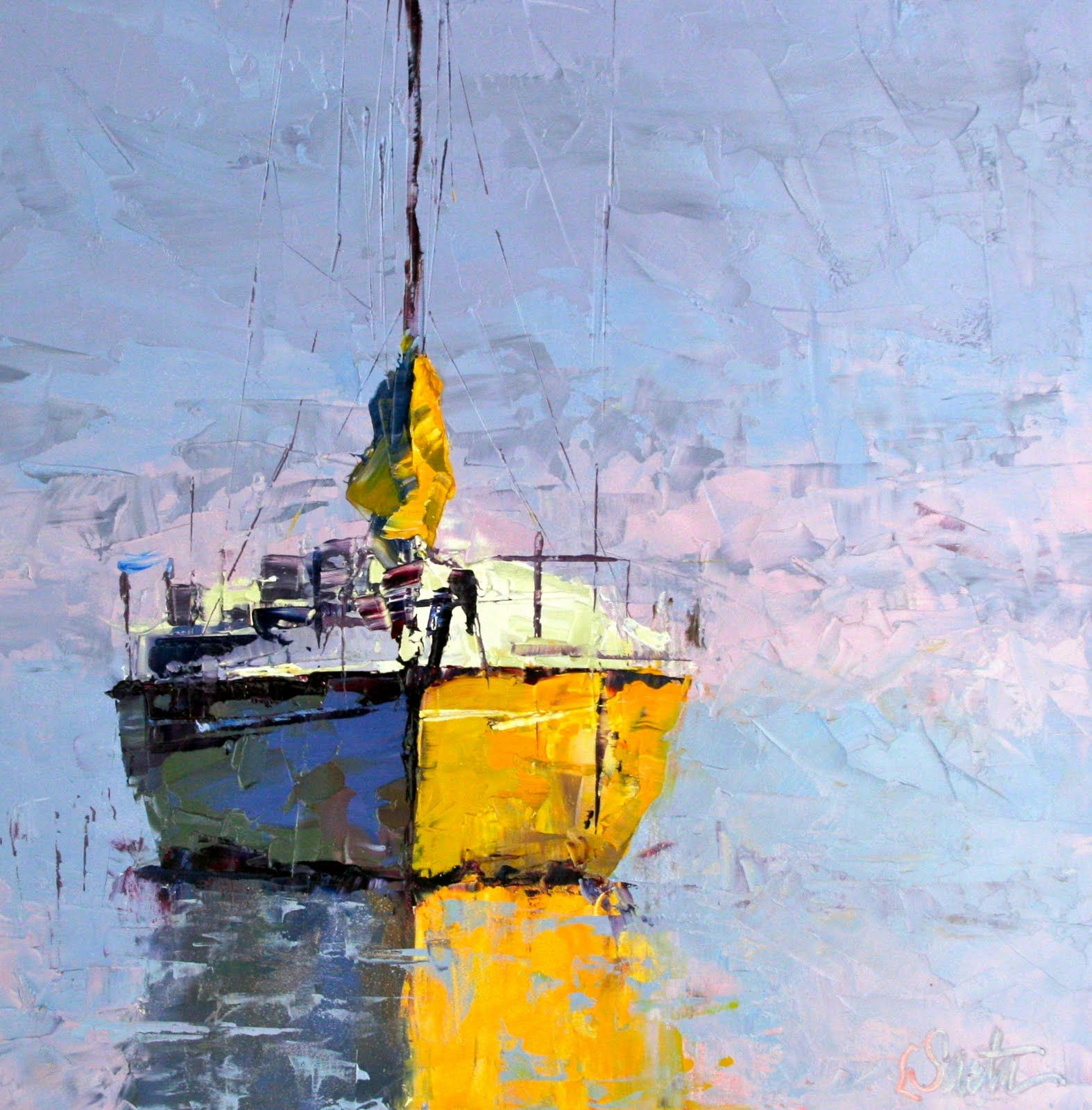Palette Knife Painting Sailboat art, Painting
