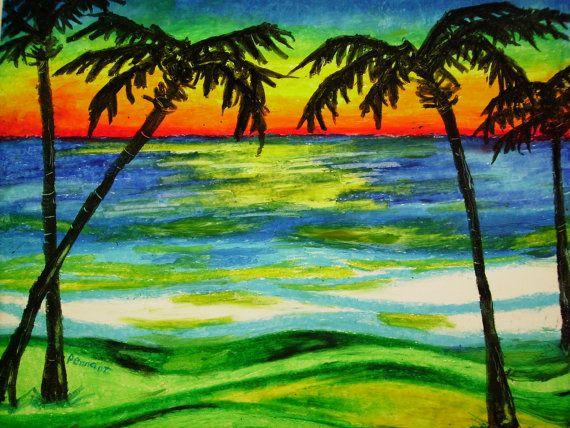 Palms At Sunset 14x17 Beach Landscape Oil Pastel Drawing On Bristol Board Palm Tree Landscape Beach Oil Pastel Drawing Wall Art Oil Pastel Landscape Pastel Landscape Oil Pastel Drawings