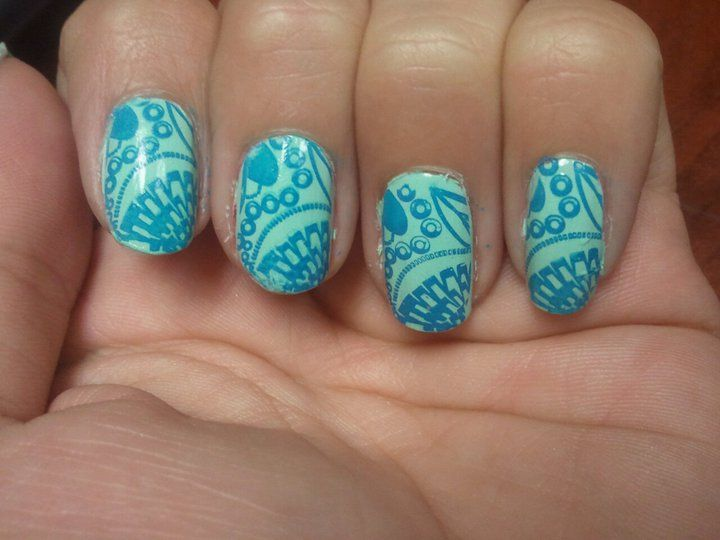 The color contrast is so vivid. Mash nail stamp with Sinful Polish ...