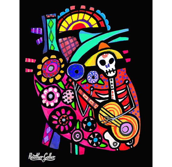Mexican Folk Art Heart Anatomy art Print Poster by Heather Galler ...