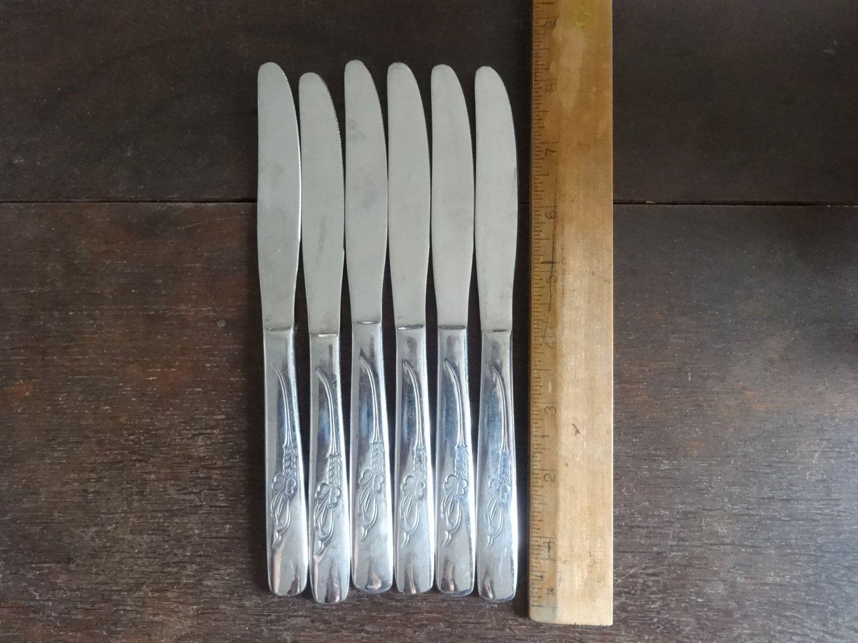 Vintage English dinner table knifes set cutlery flatware silverware ...