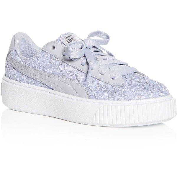 18af73f96c4 Puma Women s Basket Classic Floral Lace Lace Up Platform Sneakers ( 115) ❤  liked on
