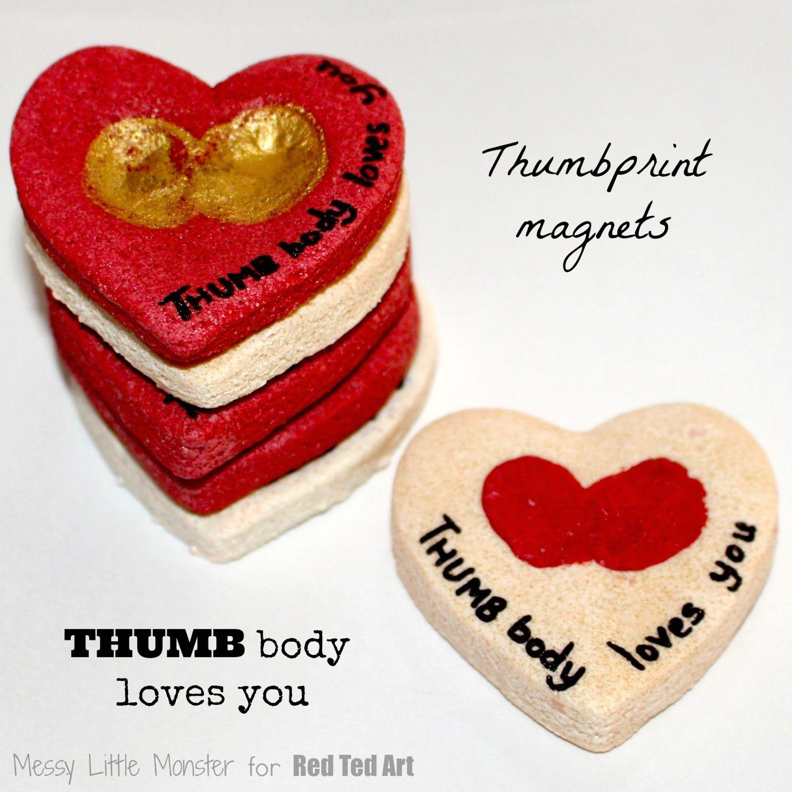 Thumbbody Loves You Thumbprint Magnet Valentine Crafts For Kids
