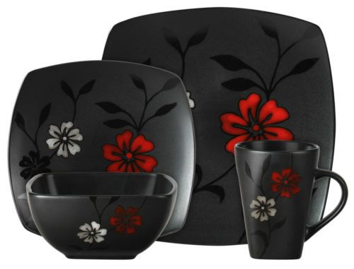 New Unique 16pc Black Dishes White Red Floral Asian Dinnerware Set