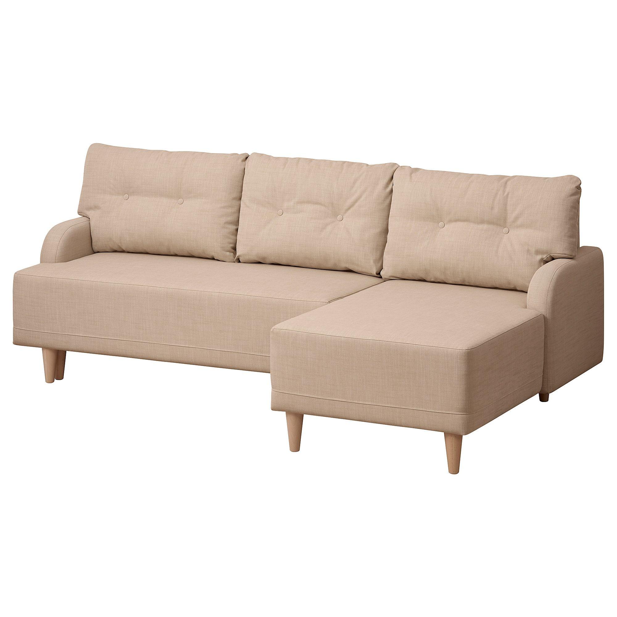 Bastubo Rozkladana Sofa 3 Osobowa Z Lezanka Prawa Skiftebo Bezowy Bettsofa Sofa Recamiere
