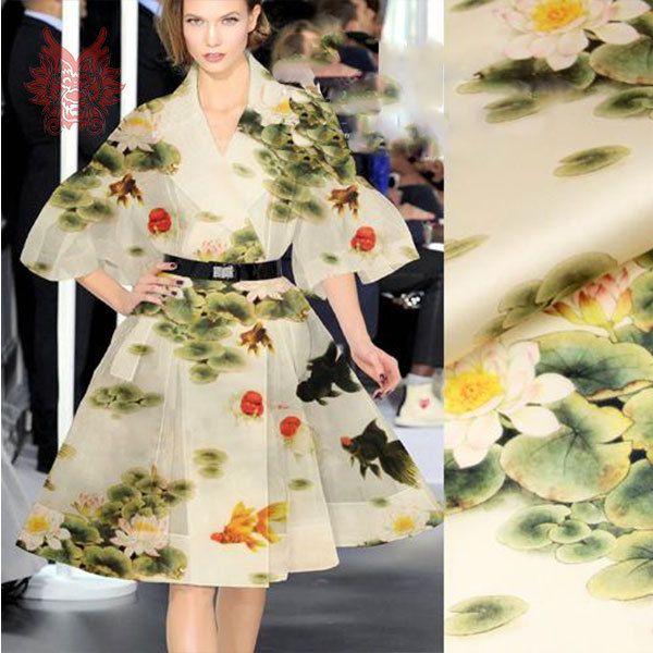 yellow lotus digital print organza satin 100%Silk fabric