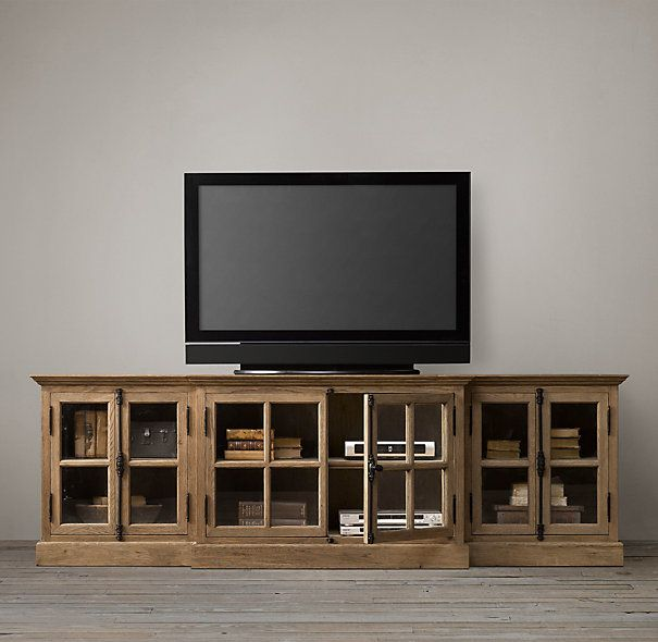 French Casement Media Console Glass Doors | TV Easels ...