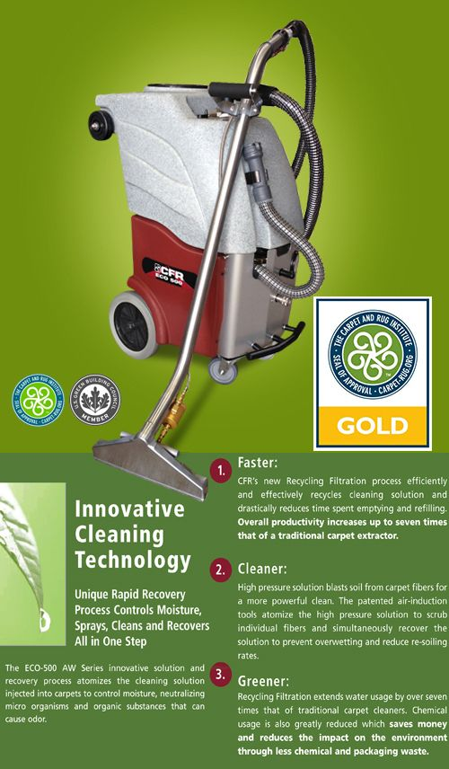 Totally Green Cleaning Solutions uses eco friendly water recycling carpet cleaning machines.