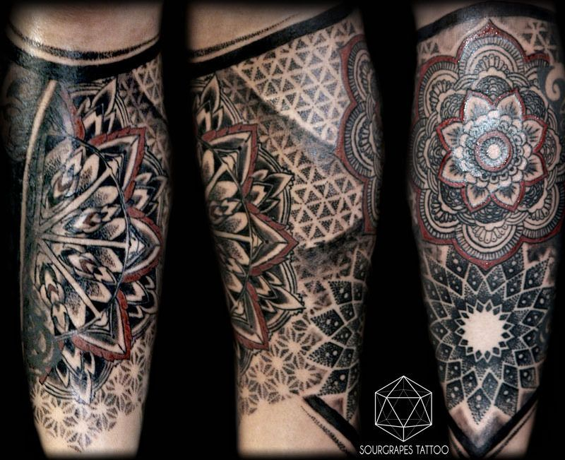 Geometric Mandala Dotwork Tattoo Sleeve Tattoos Leg Sleeve Tattoo Geometric Sleeve Tattoo
