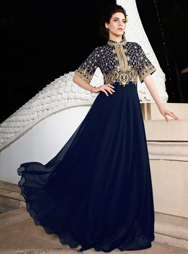 ef44962f2d0 Navy Blue Silk Readymade Party Wear Gown 93912 | Designer Party wear ...