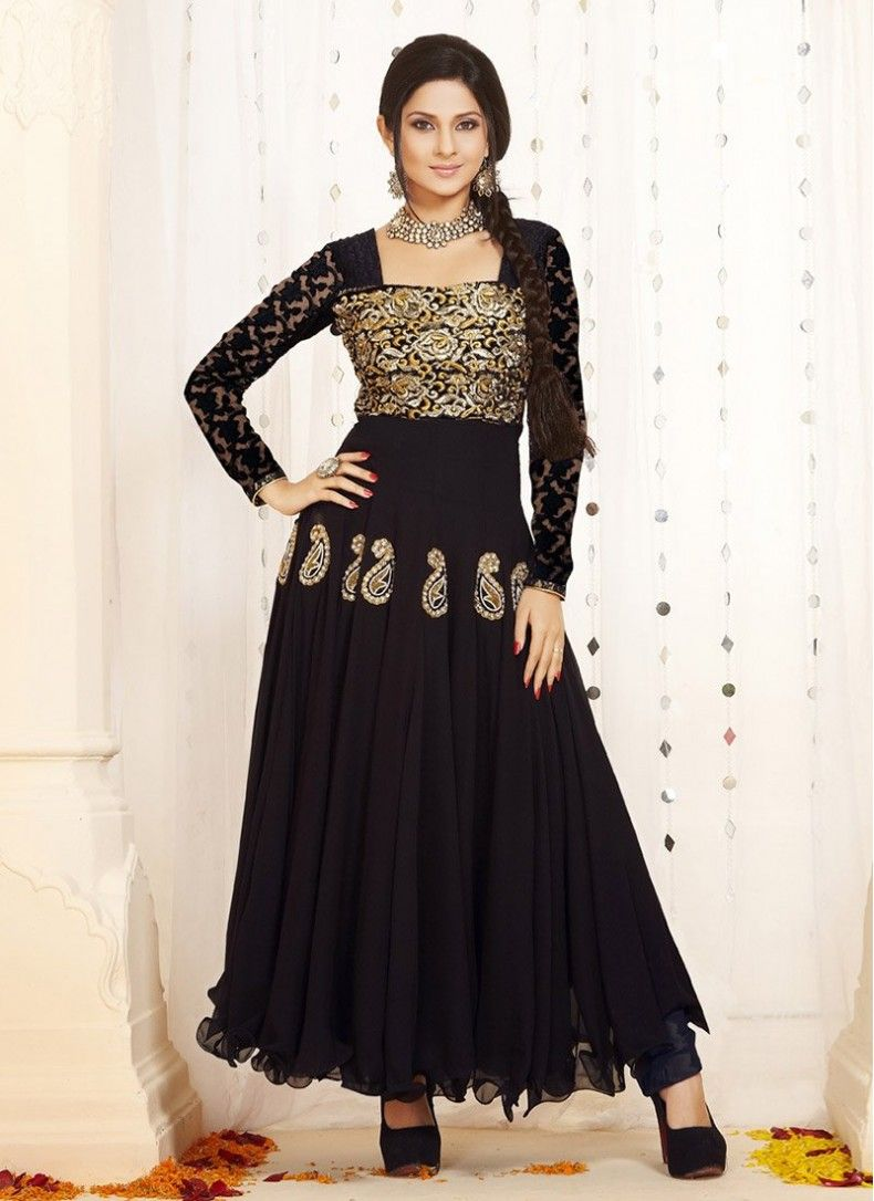 Jennifer winget brown faux georgette anarkali suit enshroud yourself