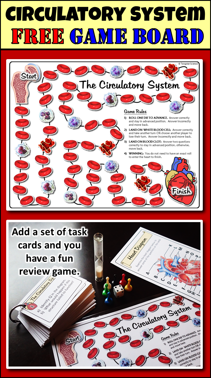 Circulatory System Game Board {FREE} - Convert Your Task Cards to a ...